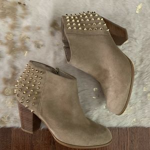 Zara Size 8 Tan Suede God Studded Ankle Booties